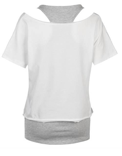Biele dámske tričko s šedým tielkom