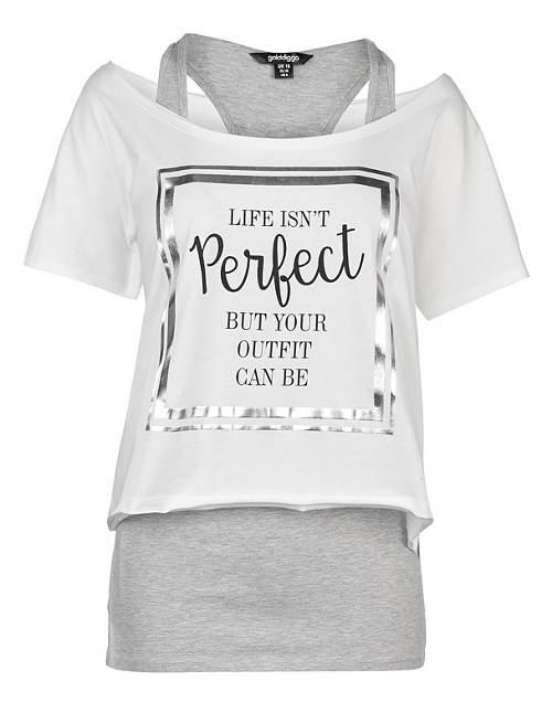 Bielo-šedé dámske tričko 2v1 s nápisom