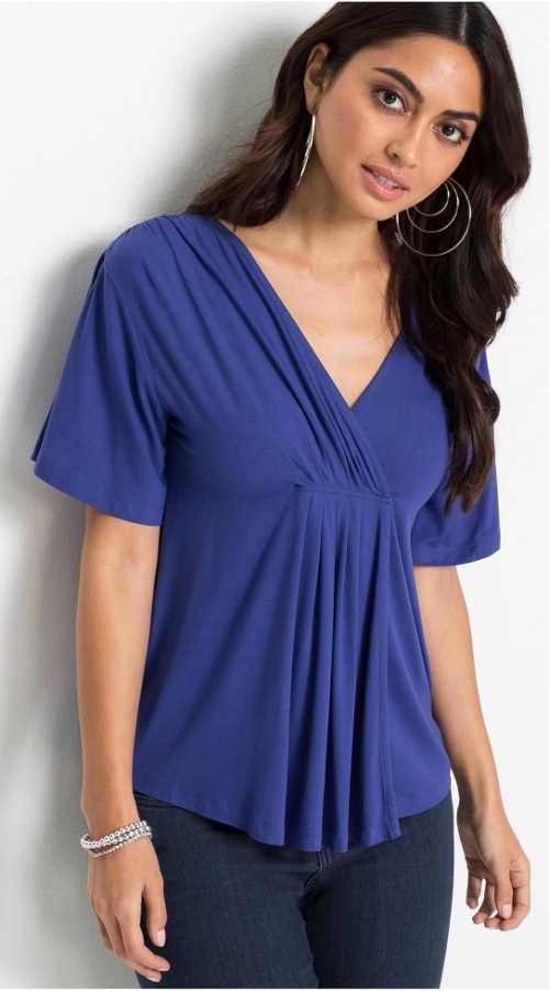 Jednofarebná dámska spoločenská košeľa so zavinutým výstrihom