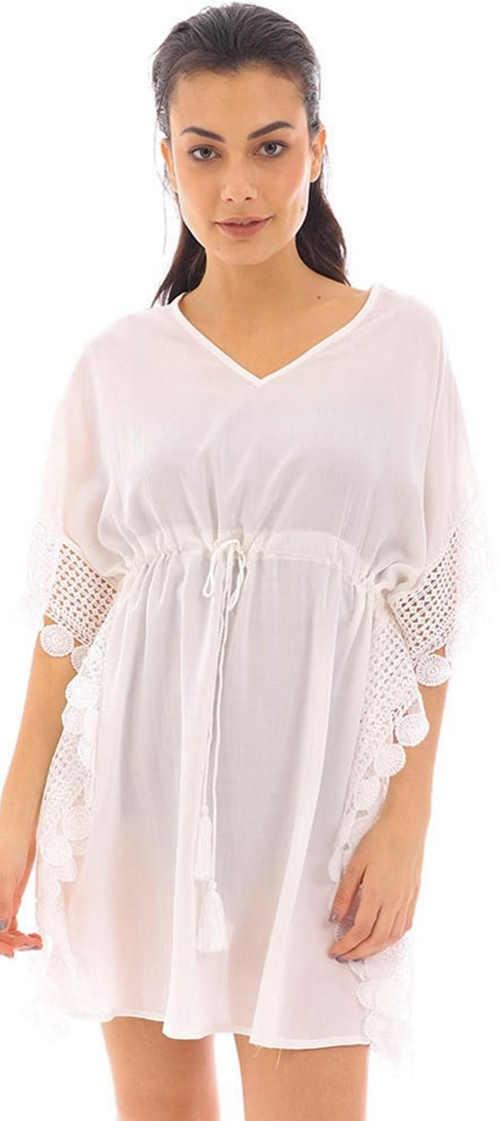 Biele čiastočne priesvitné plážové šaty so sťahovacou šnúrkou pod prsiami