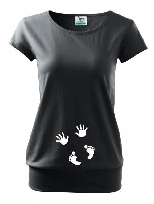 Čierne tehotenské tričko ručičky a nožičky