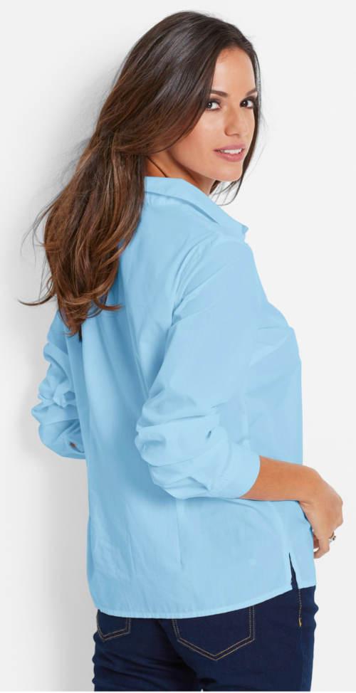 Jednoduchá dámska modrá košeľa