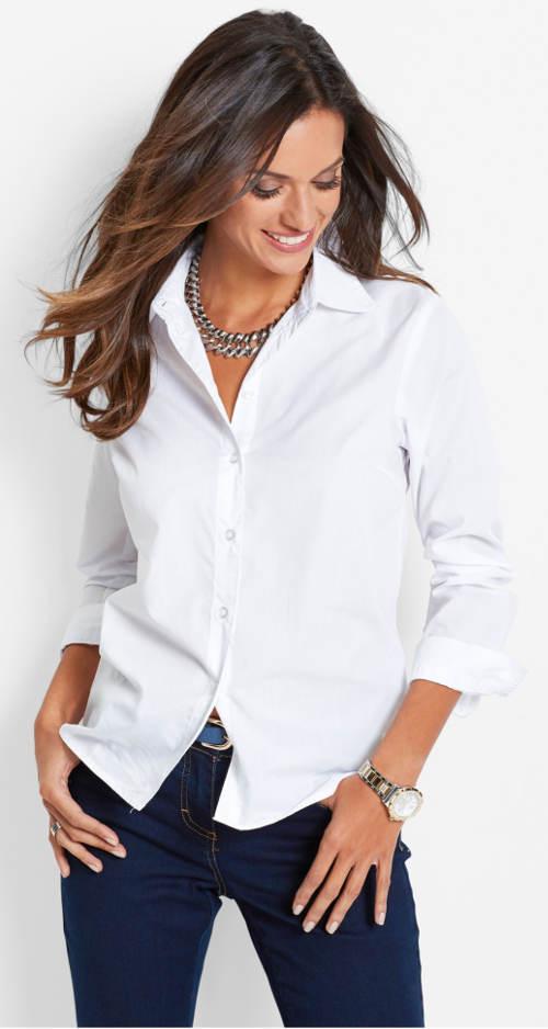 Jednofarebná dámska košeľa s dlhým rukávom