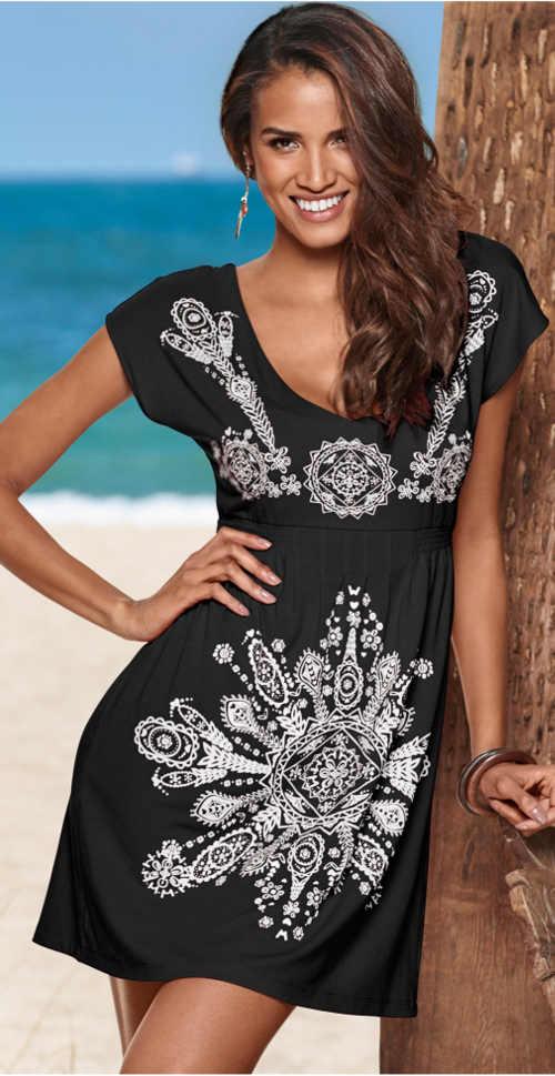 Ľahké letné šaty sa stiahnutím pod prsiami