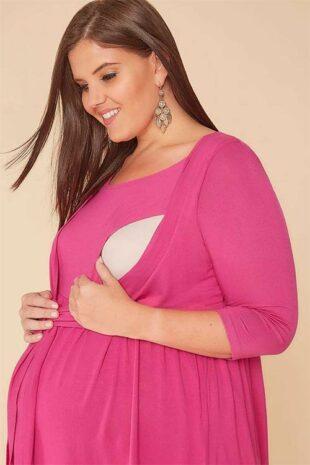 Ružová tehotenská blúzka s bolerkom