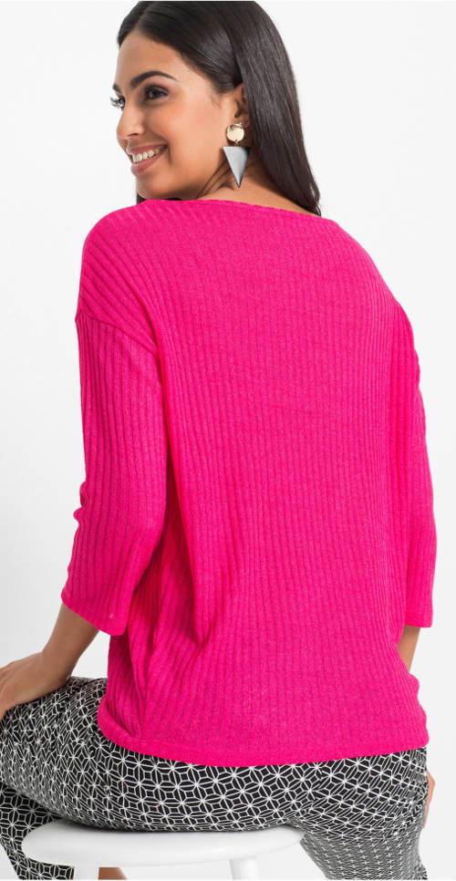 Ružové dámske úpletové tričko
