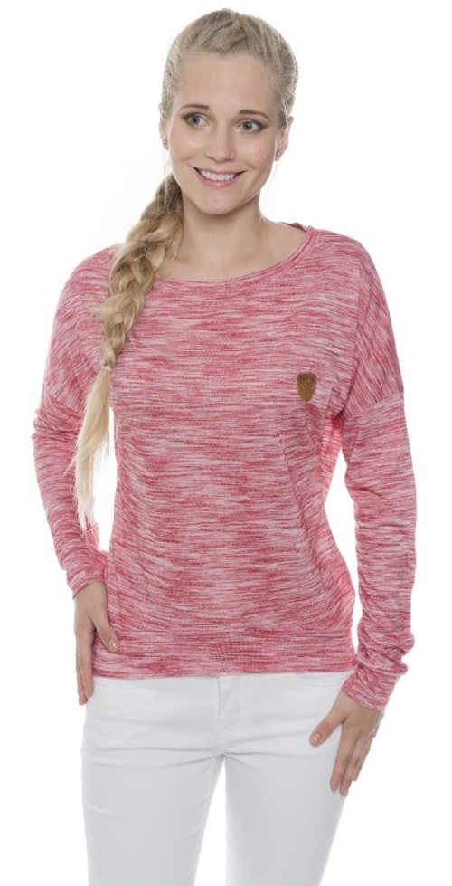 Ružové žíhané dámske tričko s dlhými rukávmi