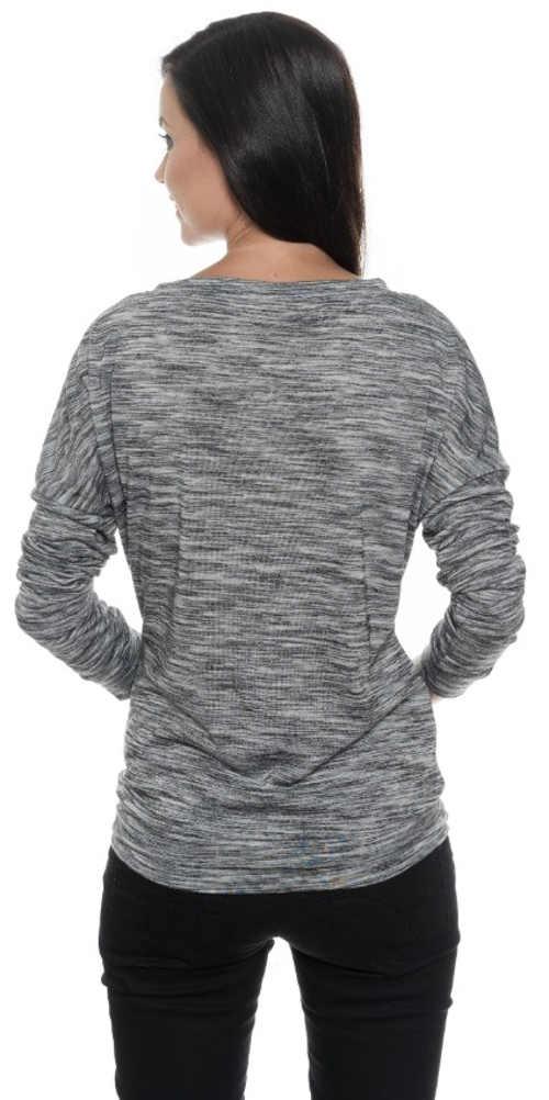 Teplé šedé žíhané dámske zimné tričko