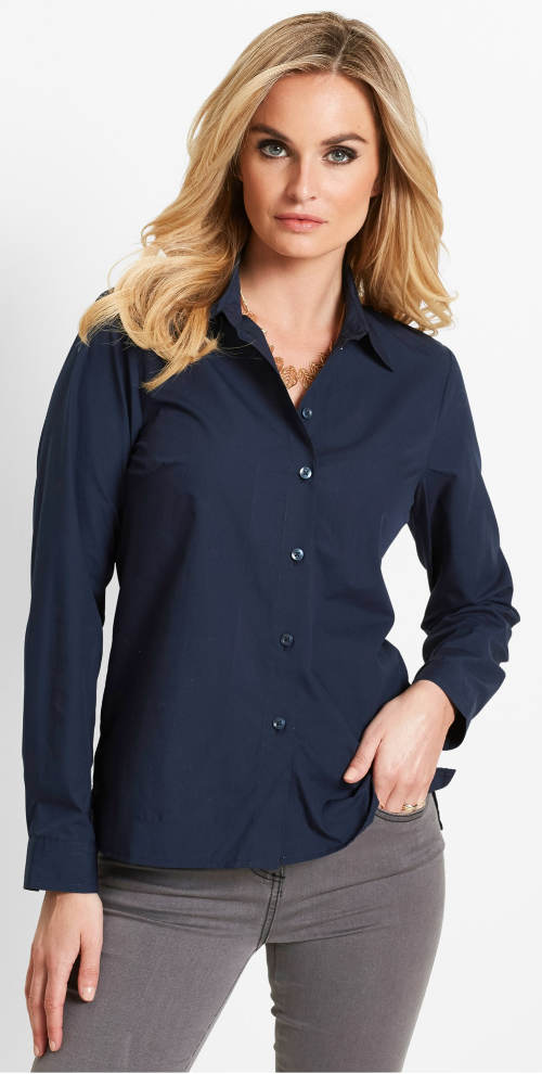 Tmavo modrá dámska košeľa s dlhým rukávom