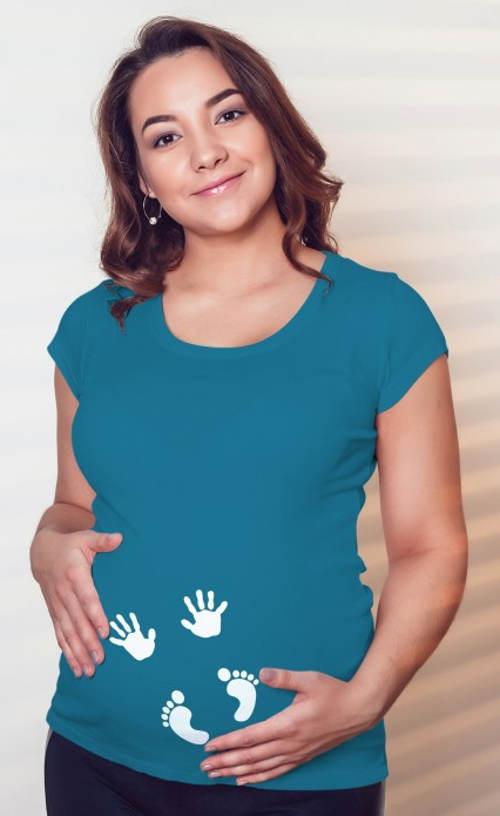 Tyrkysové tehotenské tričko s odtlačkami