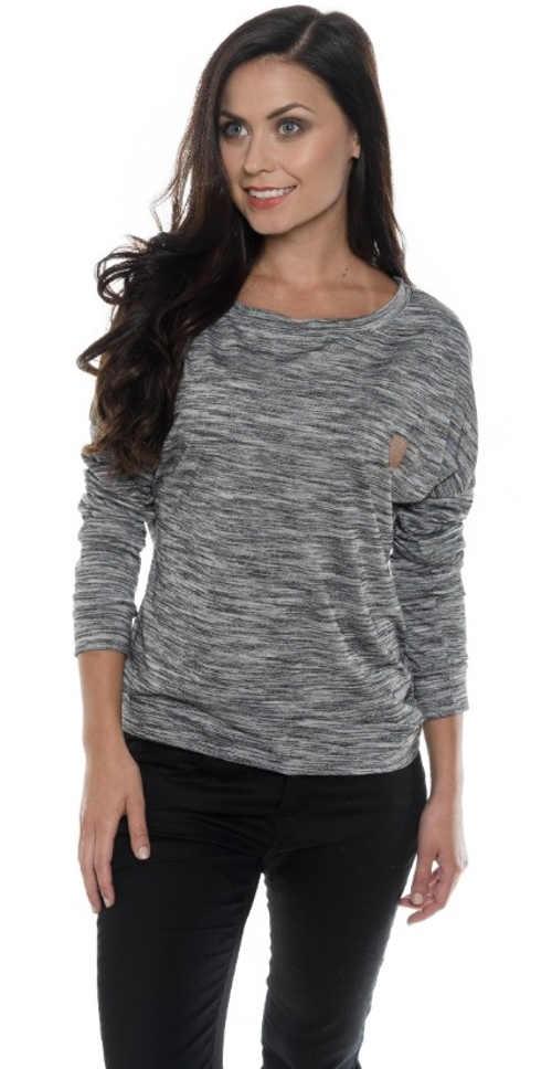 Voľné dámske šedé žíhané tričko s dlhými rukávmi