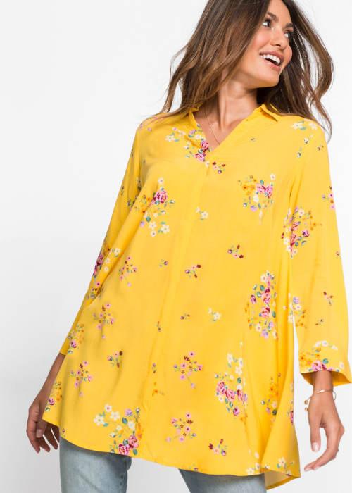 Žltá košeľová blúzka vhodná aj pre tehotné
