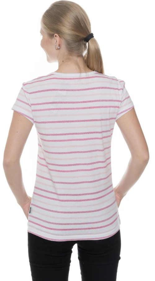 Biele dámske tričko s ružovým prúžkom