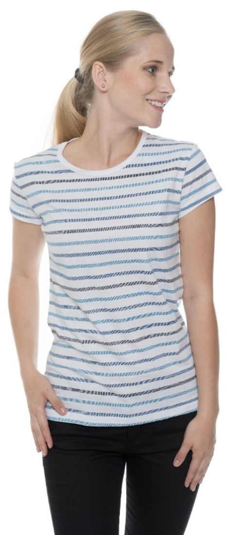 Bielo-modré pruhované dámske tričko s krátkym rukávom