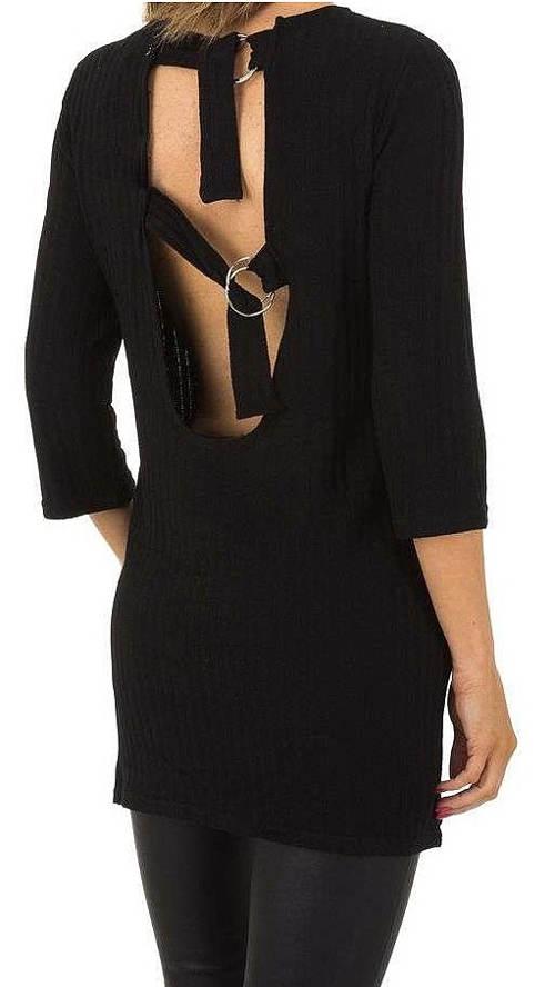Čierna dámska tunika s viazačkou na chrbte