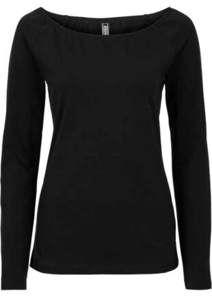 Čierne moderné tričko s dlhým rukávom a sexy výstrihom