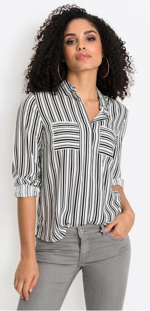 Čiernobiela pruhovaná dámska košeľa