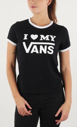 Čiernobiele dámske tričko I love my Vans
