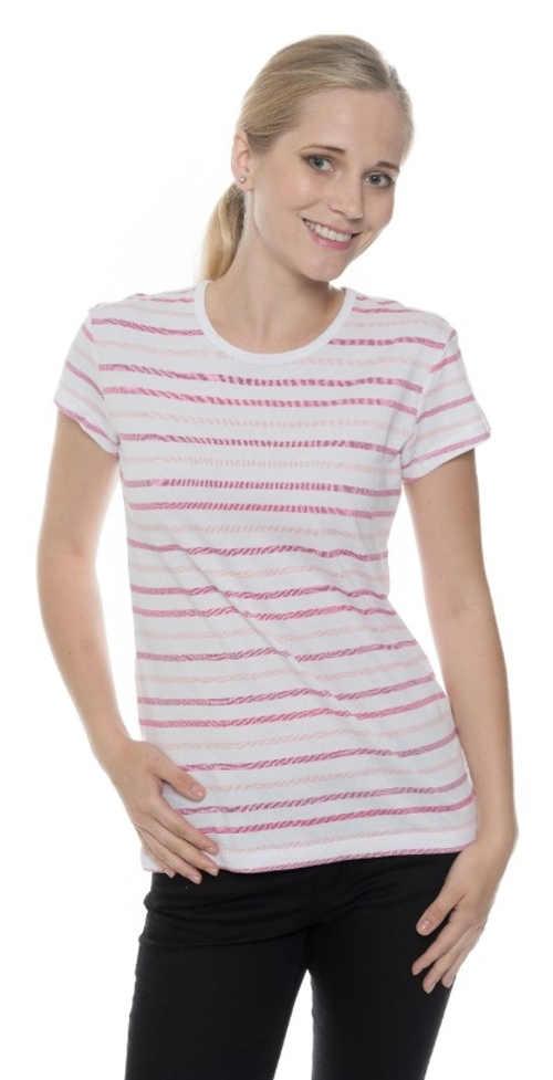 Jednoduché lacné pruhované dámske tričko s krátkym rukávom