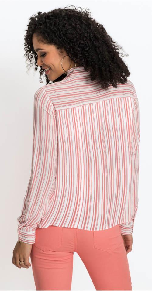 Ružovo-biela dámska pruhovaná košeľa
