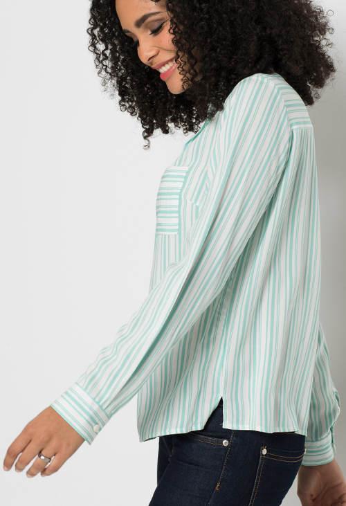 Tyrkysová pruhovaná dámska košeľa