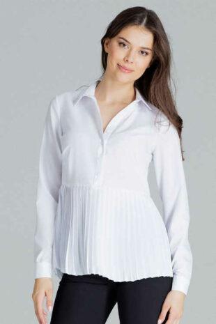 Biela volánová blúzka s dlhými rukávmi v elegantnom dizajne
