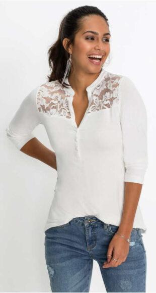 Biele tričko s dlhým rukávom, čipkovou vsadkou a gombíkovou légou