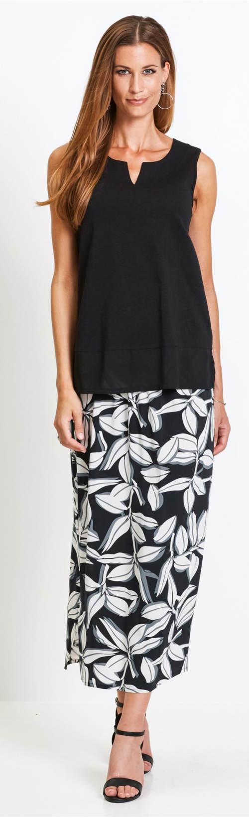 Čierne letné tielko s maxi sukňou