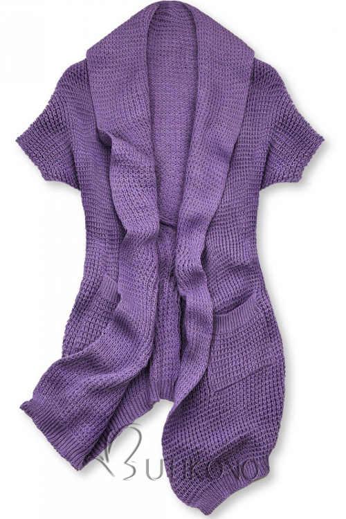 Fialový dámsky pletený top v zaujímavom asymetrickom strihu