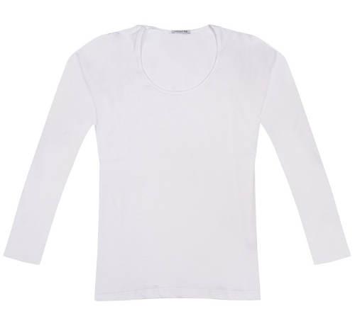 Jednofarebné dámske biele tričko s dlhými rukávmi