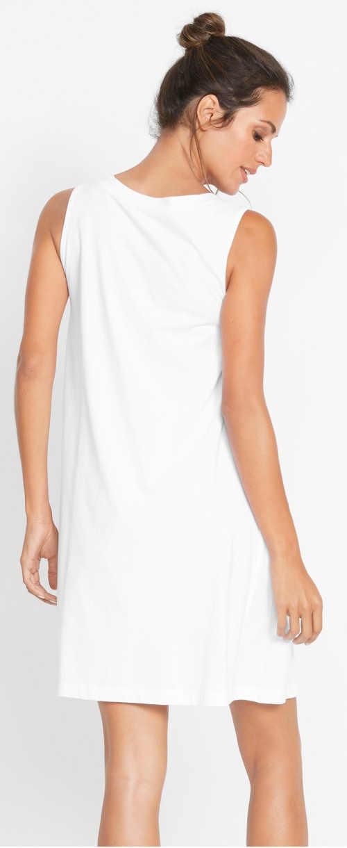Lacné biele dámske letné šaty Bonprix