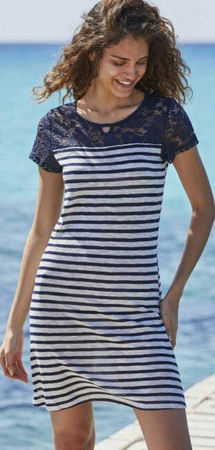 Letné krajkové dámske šaty v námorníckom štýle