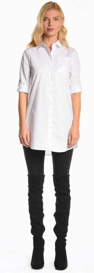 Svetlé biele dámske tričko s dlhým rukávom