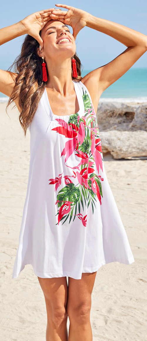 Tielkové letné šaty s kvetinovou potlačou