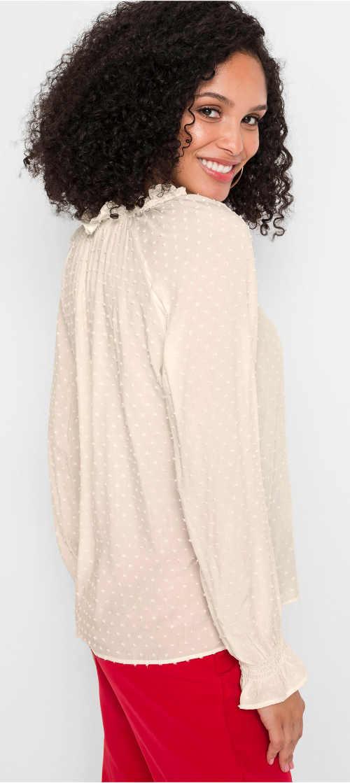 Biela blúzka s dlhými rukávmi s nohavicami