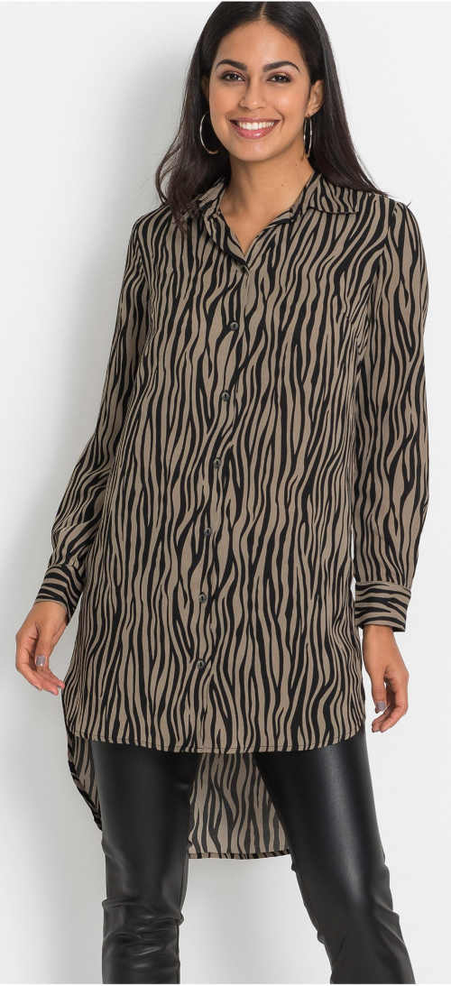Dlhá košeľová blúzka so vzorom zebry