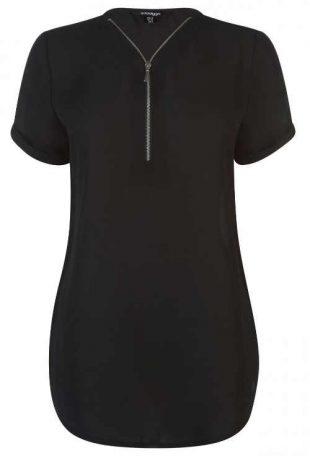 Dlhé čierne dámske tričko s výstrihom na zips