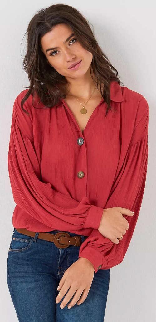 Jednofarebná dámska košeľová blúzka so širokými rukávmi