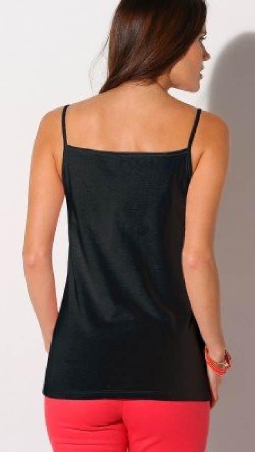 Jednofarebné čierne tielko s tenkými ramienkami