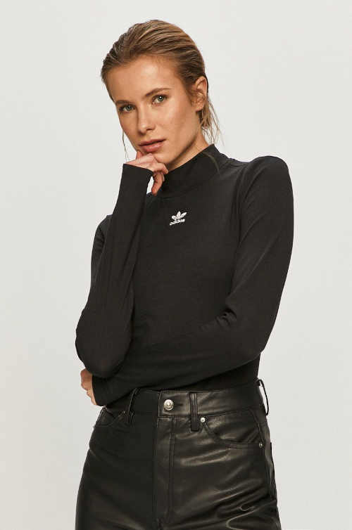 Moderné tričko Adidas so stojatým golierom a dlhými rukávmi