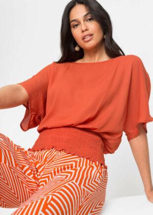 Oranžová kimonová blúzka s efektom žaby