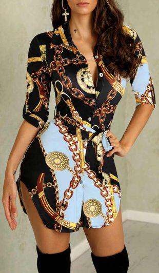 Predĺžená blúzka PEYTON – mini šaty s potlačou