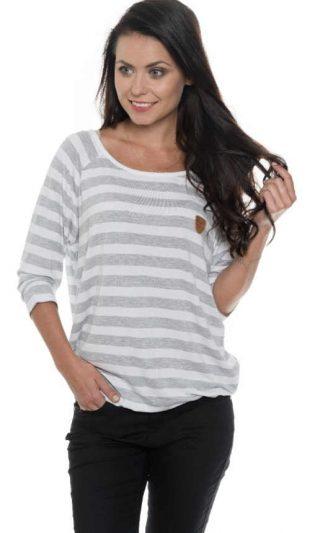 Pruhované bielo-sivé dámske tričko s dlhým rukávom