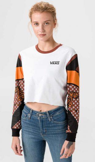 Bavlnené tričko Vans s dlhým rukávom v krátkej dĺžke