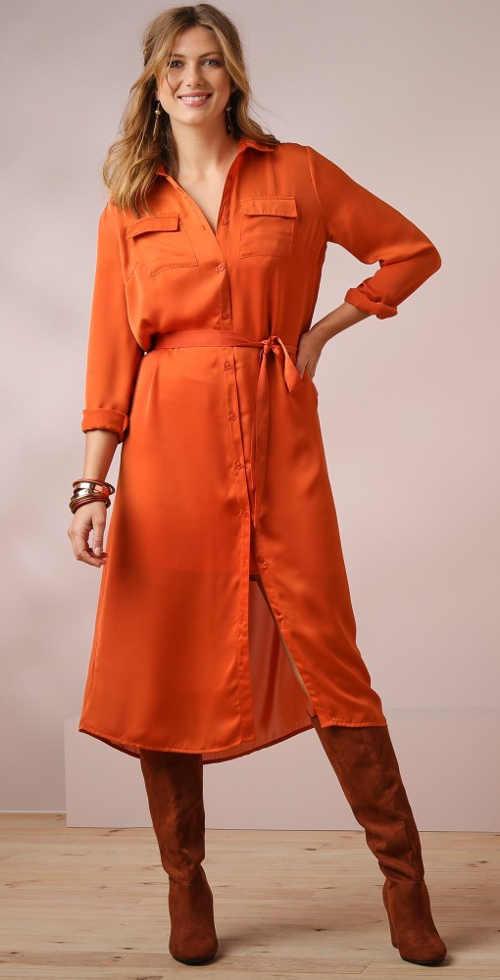 Dlhé oranžové dámske tričko v midi dĺžke