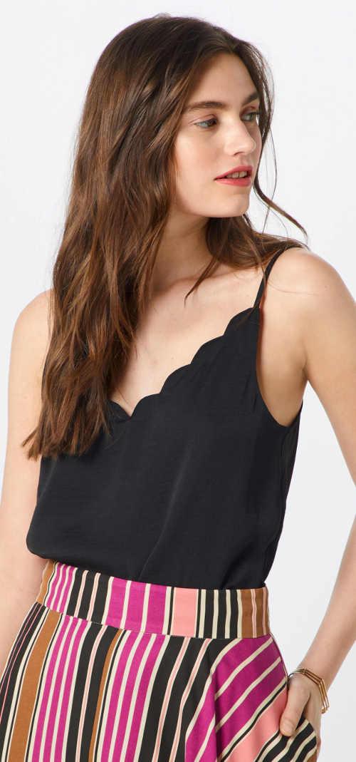Čierne letné tričko s tenkými špagetovými ramienkami